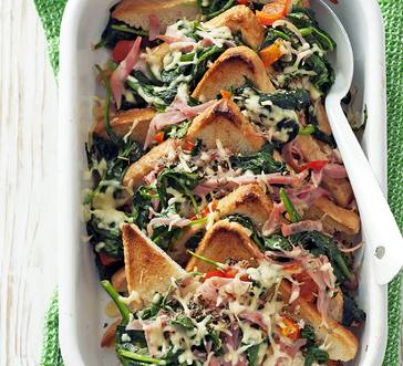 Spinach, Ham, and Cheese Strata image