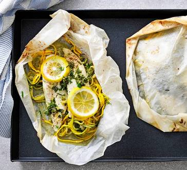 Tilapia Packets with Squash Noodles and Herbs image