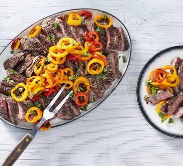 Grilled Skirt Steak with Peppers image
