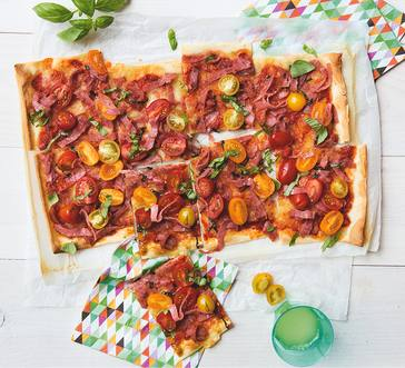 Salami and Tomato Pizza image