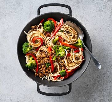 Noodles with Vegetarian Crumbles and Peppers image