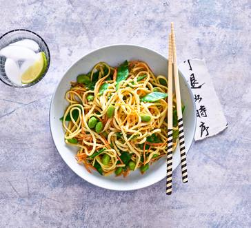 Cold Noodles with Edamame, Snow Peas, and Carrots image