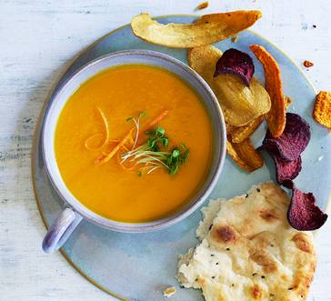 Carrot Soup with Naan Bread image