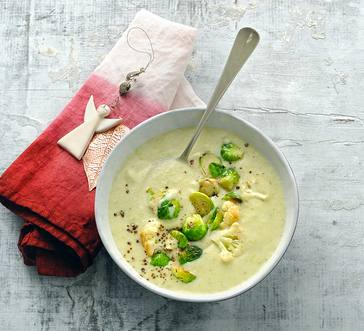 Creamy Brussels Sprout and Cauliflower Soup image