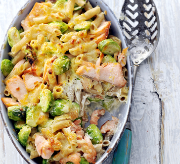 Cheesy Pasta with Salmon and Brussel Sprouts image