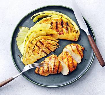Grilled Red Curry Chicken with Grilled Cabbage Wedges image
