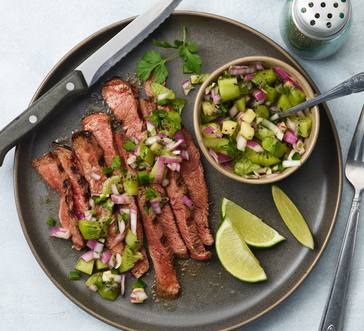Grilled Steak with Smokey Kiwi Salsa image