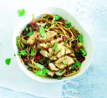 Pork Tenderloin over Sweet-and-Sour Noodles image