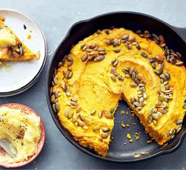 Pumpkin Skillet Cornbread with Honey Butter image