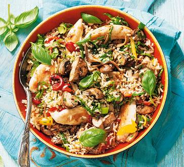 Stir-Fried Chicken and Peppers with Rice image