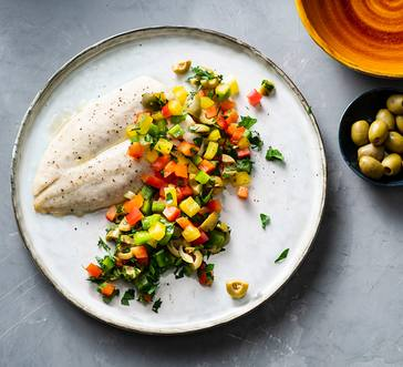 Broiled Tilapia with Olives and Peppers image