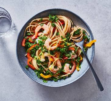 Spaghetti with Garlicky Greens and Shrimp image