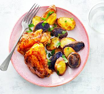 Maple BBQ Chicken Thighs with Roasted Potatoes image