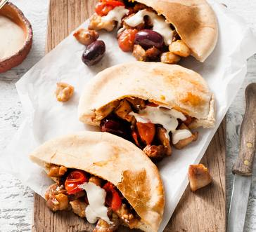 Chicken Pitas with Olives and Tomatoes image