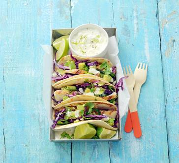 Chicken Tacos with Cabbage, Avocado Salsa and Lime Cream image