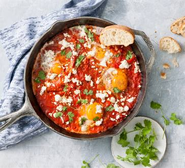 Tomato-Poached Eggs with Feta image