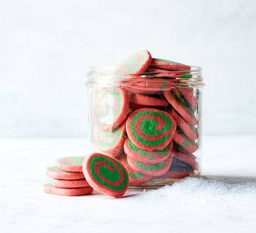Red and Green Pinwheel Cookies image