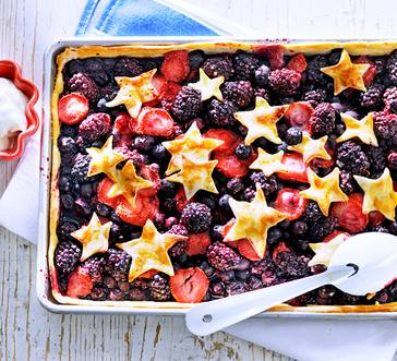 Red, White, and Blueberry Slab Tart image
