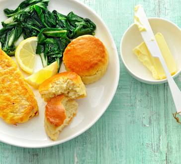 Cornmeal-Crusted Catfish with Greens and Biscuits image