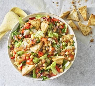 Tomato and Chickpea Salad with Pita Croutons image