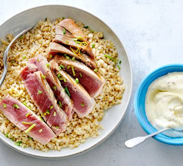 Grilled Tuna Steaks with Lemon Rice image