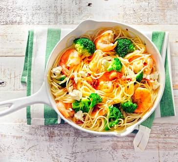 Mediterranean Pasta with Shrimp, Broccoli, and Sundried Tomato image
