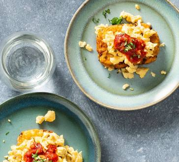 Scrambled Eggs with Potato Pancakes and Salsa image