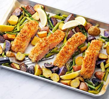 Crispy Salmon with Asparagus and Potatoes image