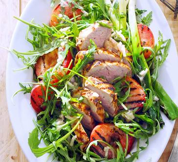 Grilled Pork Tenderloin with Arugula Salad and Plums image