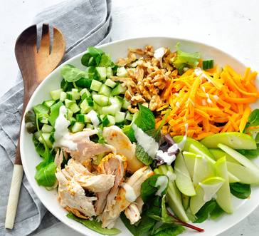 Salad with Chicken, Apples, and Blue Cheese Dressing image