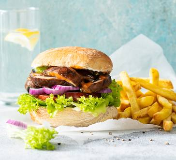 Grilled Portabella Sandwiches with Oven Fries image