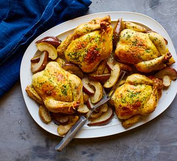 Cornish Game Hens with Roast Apples and Pears image