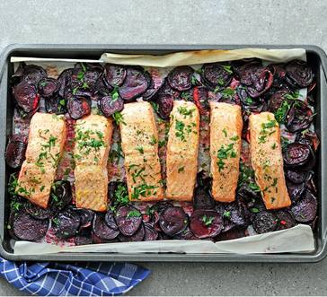 Slow-Roasted Salmon over Beets image