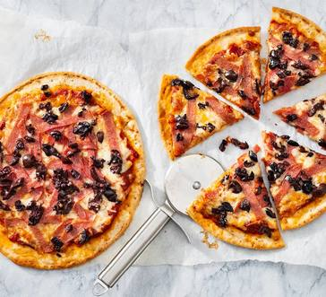 Cauliflower Pizzas with Salami and Olives image