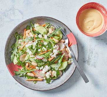 Cucumber, White Bean, and Feta Salad with Hummus Dressing image