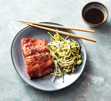 Korean BBQ-Glazed Salmon with Zoodle Salad image