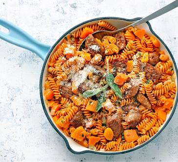 Rotini with Butternut Squash and Plant-Based Sausage image