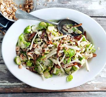 Brussels Sprout Salad with Dates and Hazelnuts image