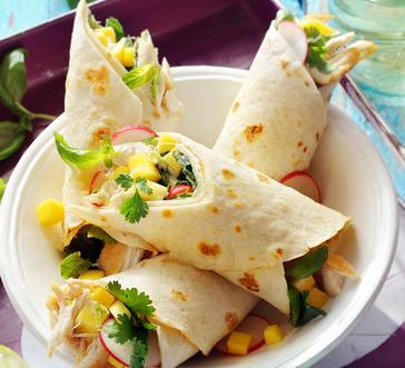 Roast Chicken Wrap with Mango, Herbs and Lime Mayonnaise image