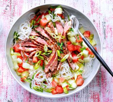Grilled Steak Salad with Watermelon and Rice Noodles image