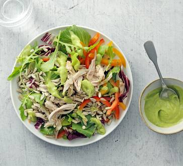 Salad with Chicken and Avocado Dressing image