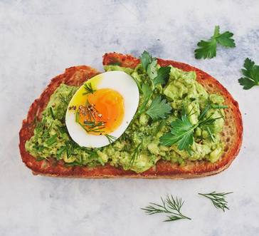 Egg Toasts with Avocado Pesto image