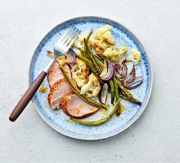 BBQ-Rubbed Pork Tenderloin with Cauliflower and Green Beans image