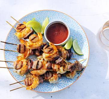 Spicy Shrimp and Kielbasa Skewers image