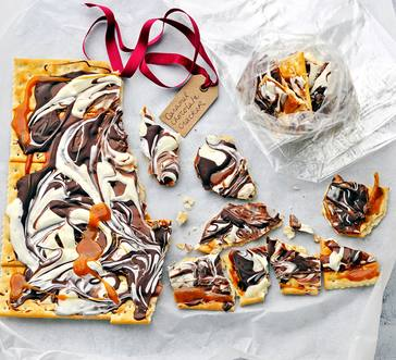 Caramel-Chocolate Swirl Cracker Candy image