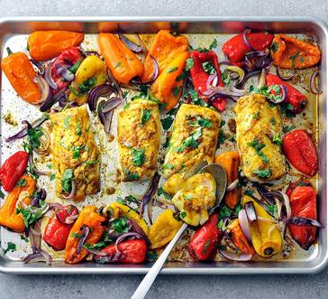 Baked Curry-Spiced Cod with Peppers image