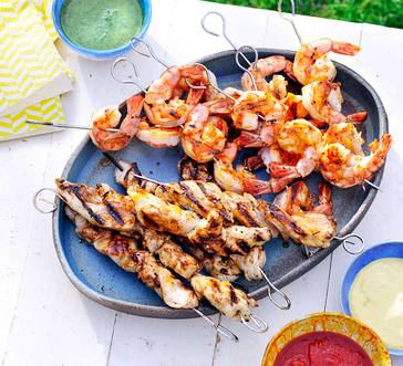 Grilled Chicken and Shrimp Skewers image