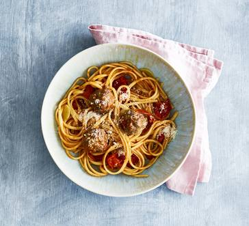 Linguine with Meatballs and Roasted Tomatoes image