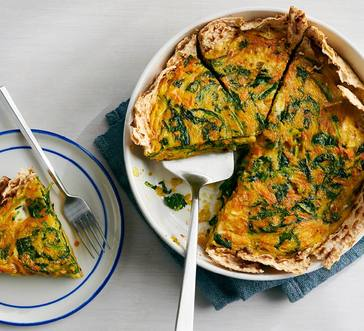 Matzo Quiche with Carrots and Greens image