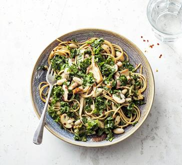Whole Wheat Spaghetti with Wild Mushrooms and Kale image